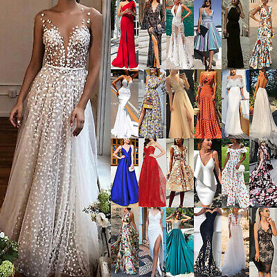 UK Women's Formal Prom Ball Gown Ladies Evening Party Bridesmaid Wedding Dresses