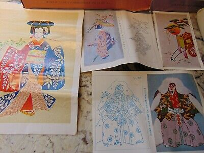 Lot of 4 japanese Tokyo BUNKA  Punch Embroidery Picture Sets  RARE
