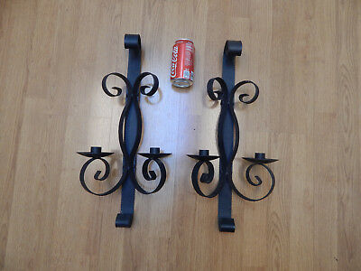 vtg wall sconce wrought cast iron Spanish large black goth candle holder set