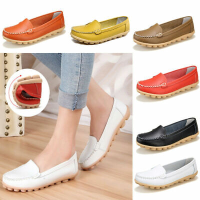 13ff0c9eae5eb Women's Oxfords Leather Shoes Lazy Peas Boat Ballet Comfy Loafers Casual  Flats