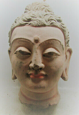 Ancient Gandharan Stucco Sculpture Statue Fragment Buddha Head