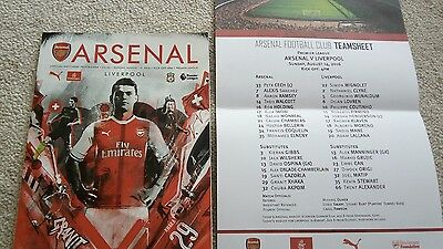 Arsenal V Liverpool Programme And Team Sheet Mint Played Aug 14Th 2016