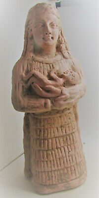 Circa 2000Bce Ancient Near Eastern Terracotta Statuette Women Holding Baby
