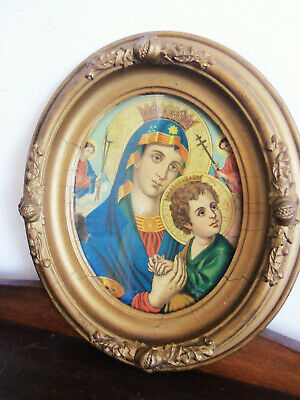 Fine Old Byzantine Icon Mother & Child Chromolithograph Victorian Plaster Frame