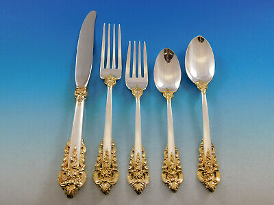 Grande Baroque Gold Accent by Wallace Sterling Silver Flatware for 8 Set 45 pcs