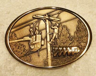 Washington Water Power_Wwp Brass Buckle_3 Ibew Linemen_Storm Work_Jostens_Rare