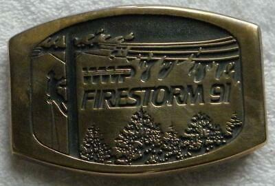 Washington Water Power_Wwp Brass Buckle_1991 Fire Storm_Ibew Lineman_Unused_Rare