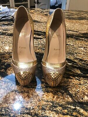 b1fb2a03f90 AUTHENTIC GOLD LOUBOUTIN heels NWT never worn includes dust bag ...