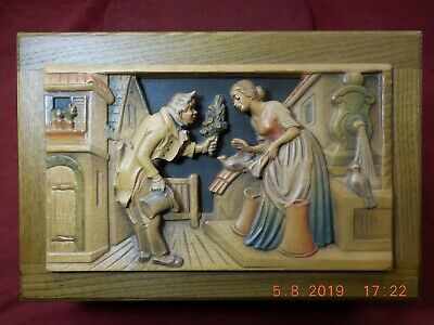 "Anri Hand Carved Oak Jewelry Box Reuge 1/36 Movement - Forever & Ever"" See Video"