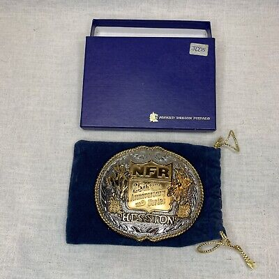 1983 Hesston NFR 25th Anniversary Belt Buckle Sterling And 24k Gold Plate