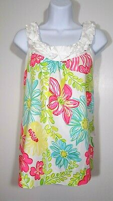 67a2a1b08ce693 Lilly Pulitzer Tank Top Blouse Size 6 Ruffle Scoop Neck Straps Side Zip  Cotton S