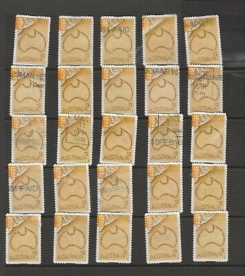 Bulk, 25 each of Map of Australia Concession Stamps. Used Stamps.  See Photo.