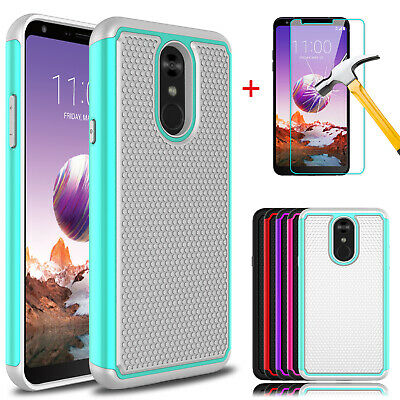 For LG Stylo 4/Stylo 4 Plus Shockproof Armor Case Cover + Glass Screen Protector