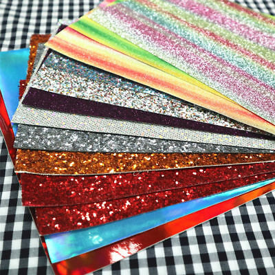 150g Scrap Pack Mixed Fine Chunky Glitter Faux Leather Fabric Off-cut Crafts Bow