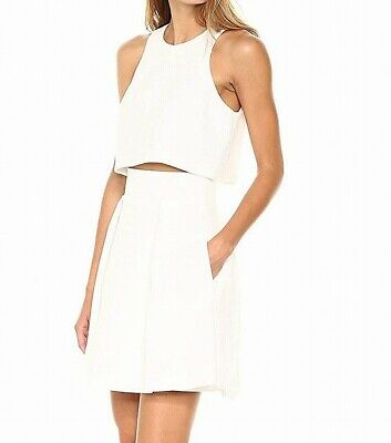 8b4c91651a9 Black Halo NEW White Womens Size 4 Popover Textured A-Line Dress  325- 978
