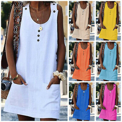 Women A-Line Ladies Loose Summer Sleeveless Round Neck Casual Tops Mini Dress