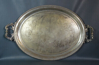 """19c.Victorian Art Nouveau Silverplate Serving Tray Floral Scroll Engraved 24x16"""""""
