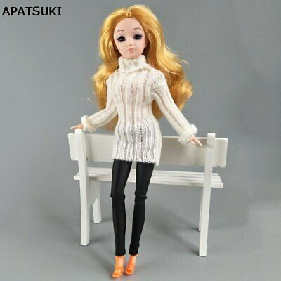 White Knitted Tops Clothes Sweater For 1/6 Doll Kids Toy Pants For 11.5in Doll