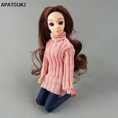 Pink Knitted Tops Clothes Sweater For 1/6 Doll Jeans Pants Hat For 11.5in Doll