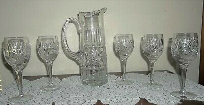 vintage EXQUISITE CUT GLASS PITCHER & 5 wines, cordials CUT CRYSTAL STEMWARE SET