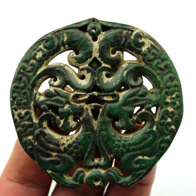 """V978 Old Chinese Han Dynasty Old Jade Two Side Double Dragon Amulet Pendant 2.7"""""""