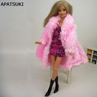 Doll Accessories Winter Wear Warm Pink Fur Coat Clothes For 1/6 Doll Clothing