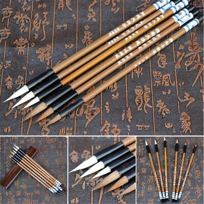 6Pcs Traditional Chinese White Clouds Bamboo Wolf's Hair Writing Brush Practical