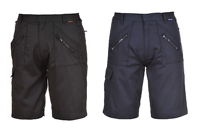 Portwest S889 Action Shorts Elasticated Waist Safety Workwear Zip Pockets Cargo