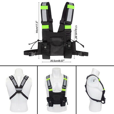 Outdoor Night Reflective Universal Walkie Talkie Chest Front Pack Pouch Vest