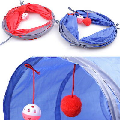 Pet Cat Tunnel Toys Rabbit Pop Up Tube Collapsible 2 Way Puppy Kitten Play UK