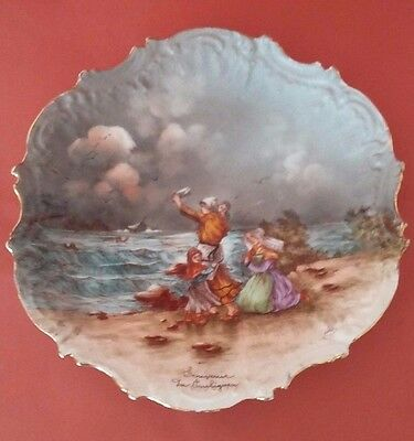 Beautiful Antique Majolica French Porcelain Plate Of Limoges - Sea Remember
