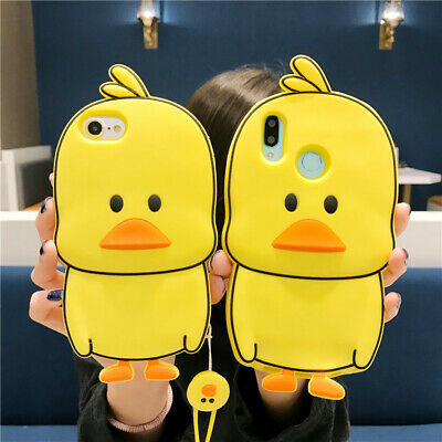 For Huawei Hot Cute Cartoon Silicone Kawaii Anime Yellow Duck Phone Case Cover