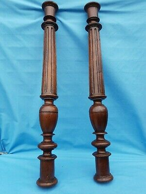 "24.8""French Antique Solid Oak 2 Posts/Pillars/Columns Salvage,Renaissance,19th"