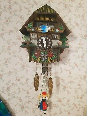 Vintage Black Forest Bouncing Girl Mini Cuckoo Clock Working condition