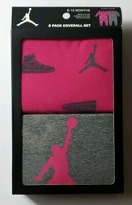 Nike Air Jordan Girls 2 Piece Coveralls Romper Creeper Set 6-12 Months