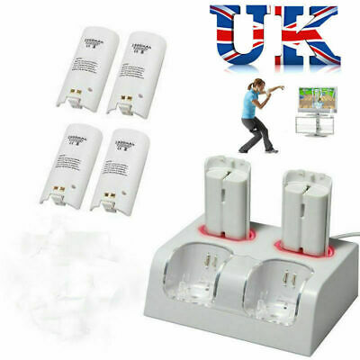 4 Rechargeable Battery for Nintendo Wii Remote Controller Charger Charging Dock