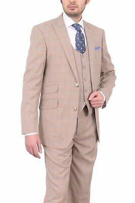 fbe80e6a5067 Lorenzo Bruno Classic Fit Taupe Glen Plaid Three Piece Suit With Peak Lapels