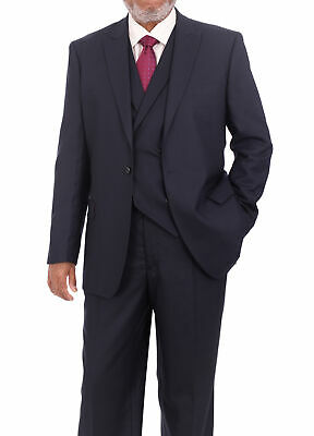 Steven Land Classic Fit Navy Blue Tonal Plaid Three Piece Suit With Peak Lapels