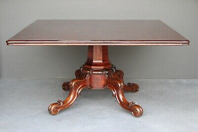 Rare antique 8 seater dining table square French polished patina mahogany 1830's
