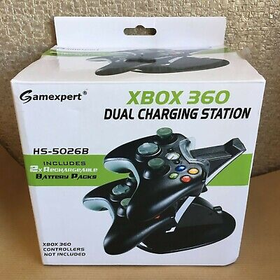 Gamexpert Xbox 360 Dual Charging Station for Controller | 2 Batteries Included