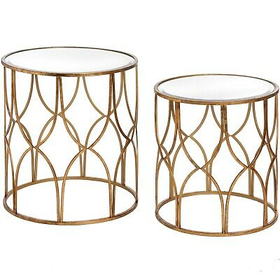 a5d2ca8cd17f9c Gold Glass Set Nest Of 2 Round Lattice Detail Side End Coffee Tables  (H18397)