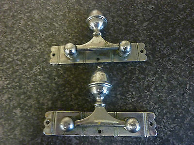Early 20Th Century Pair Of Chromed Heavy Swing Handles On Fixed Back Plates Vgc