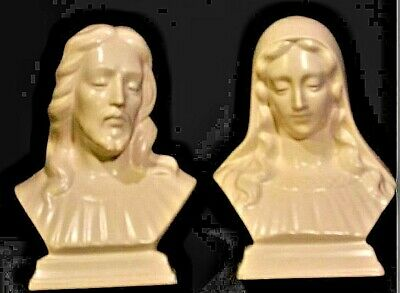 Vintage hand-made ceramic statues of Mary and Jesus AA19-1393