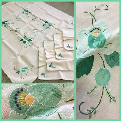 VINTAGE Delicate APPLIQUÉ & EMBROIDERY Linen/Cotton TABLECLOTH & NAPKINS