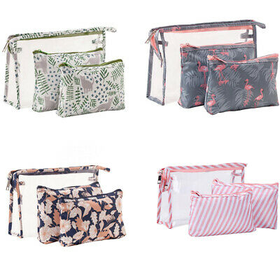 3Pcs/Set Women Cosmetic Toiletry PVC Travel Wash Makeup Bag Holder Pouch Kits