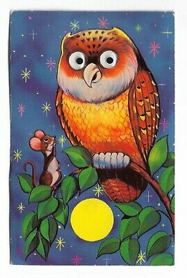 MEXICAN OWL WITH PLASTIC MOVING GOOGLY EYES VINTAGE NOVELTY POSTCARD 1970s
