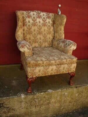 Vintage Ball & Claw Chippendale Wing Back Chair - For Restoration