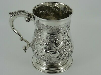 Georgian George Iii Solid Sterling Silver Embossed One Pint Tankard London 1772