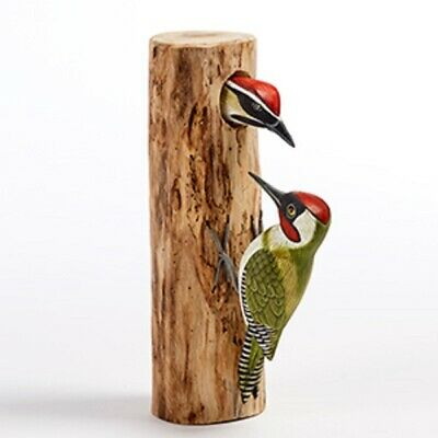 Hand Carved Wooden Mother and baby  woodpecker Green or Greater Spotted