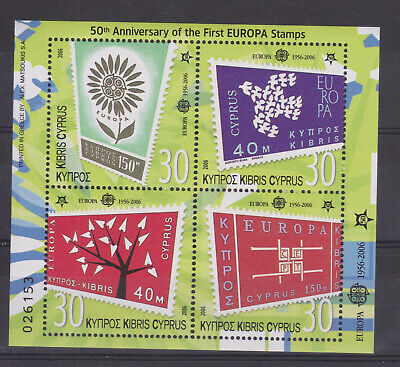 Cyprus Mnh Stamp Sheet 2006 50Th Anniversary Of First Europa Stamp Sg Ms1105